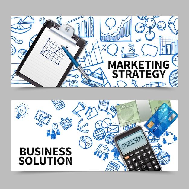 Ensemble de bannière de marketing Vecteur gratuit