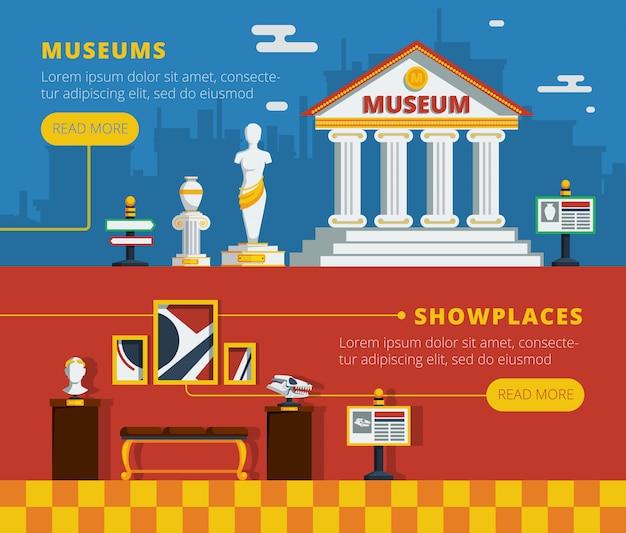 Ensemble de bannière de musée Vecteur gratuit