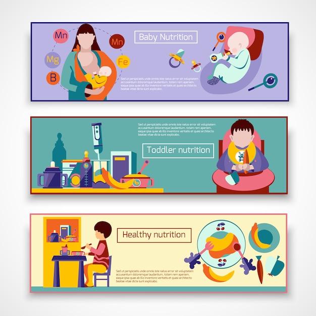 Ensemble de bannière de nutrition pour bébé Vecteur gratuit