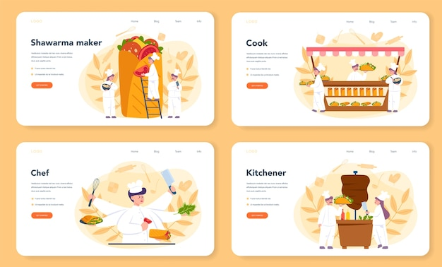 Ensemble De Bannière Ou De Page De Destination Shawarma Street Food Web Vecteur Premium