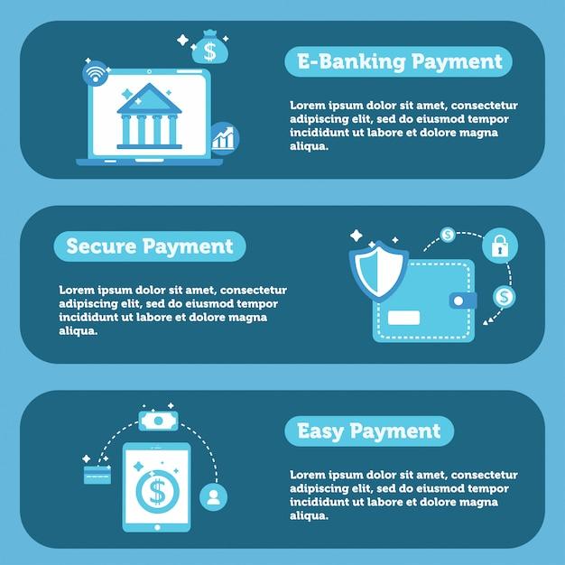 Ensemble de bannière de paiement en ligne Vecteur Premium