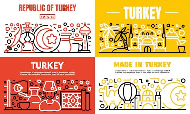 Ensemble de bannière de pays turquie, style de contour Vecteur Premium
