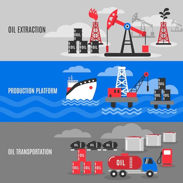 Ensemble de bannière de pétrole Vecteur gratuit