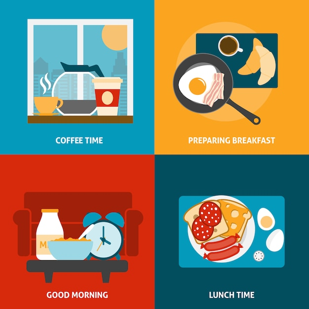 Ensemble De Bannière Pour Le Petit-déjeuner Et Le Déjeuner Vecteur gratuit