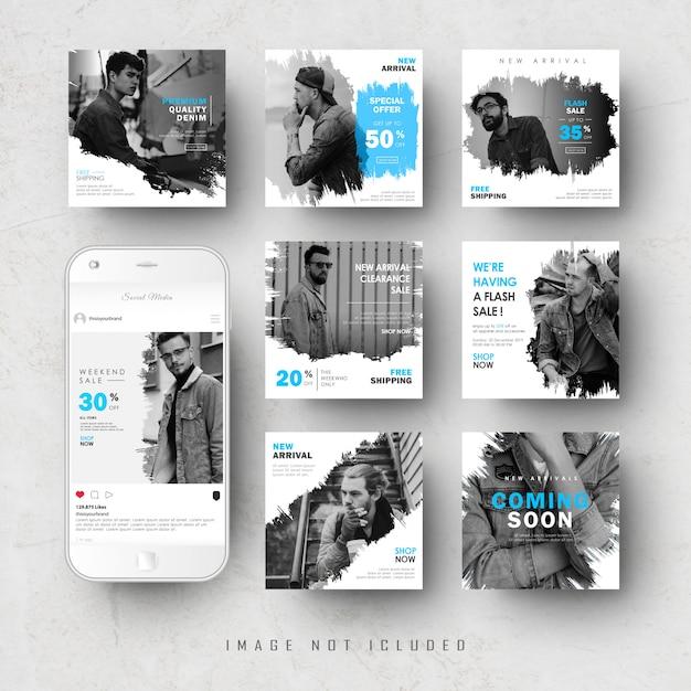 Ensemble De Bannière De Publication De Flux Instagram De Médias Sociaux Bleus Vecteur Premium