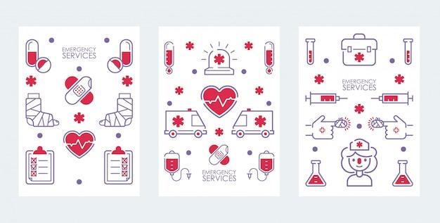 Ensemble de bannière de service médical d'urgence d'icônes pour hôpital, centre de soins de santé Vecteur Premium