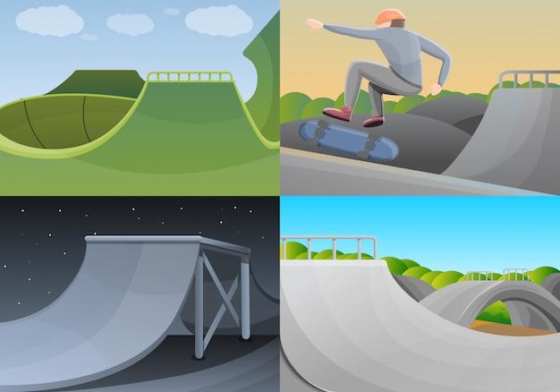 Ensemble de bannière de skate park, style cartoon Vecteur Premium