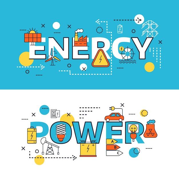 Ensemble De Bannière De Sources D'énergie Vecteur gratuit