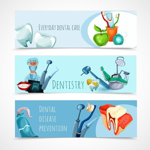 Ensemble de bannière de stomatologie Vecteur gratuit