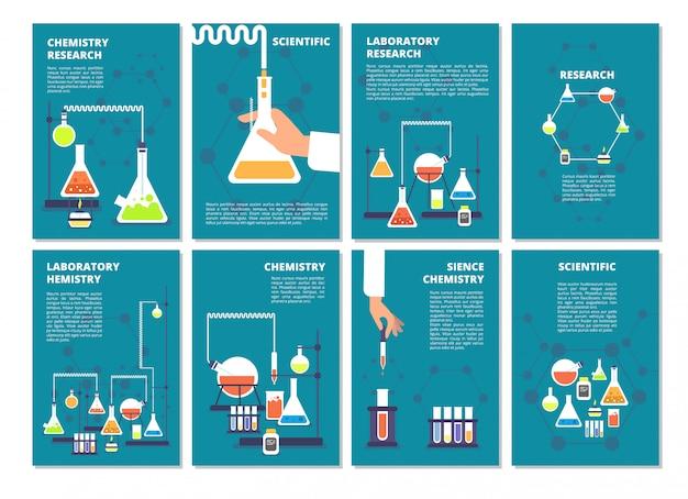 Ensemble de bannière de tests de laboratoire de chimie Vecteur Premium