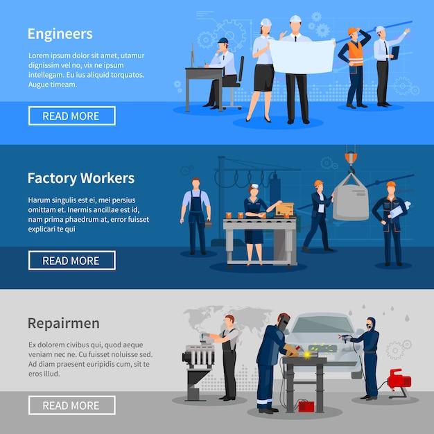 Ensemble de bannière de travailleurs d'usine Vecteur gratuit