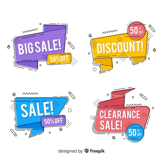 Ensemble de bannière de vente de style coloré memphis Vecteur gratuit
