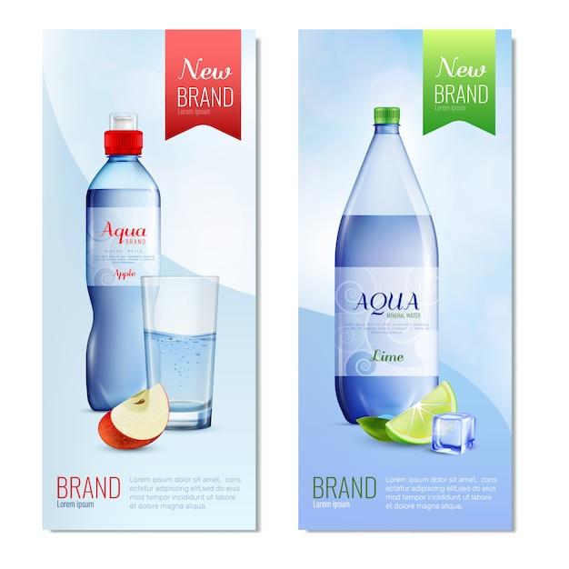 Ensemble de bannière verticale de bouteille en plastique Vecteur gratuit