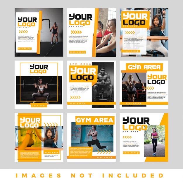 Ensemble de bannière web carré de promotion moderne pour les médias sociaux Vecteur Premium