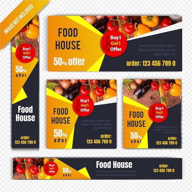 Ensemble de bannière web discount restaurant Vecteur Premium