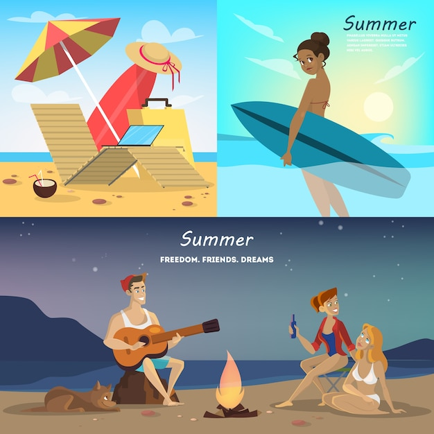 Ensemble De Bannière Web D'été. Collection De Voyage Vecteur Premium