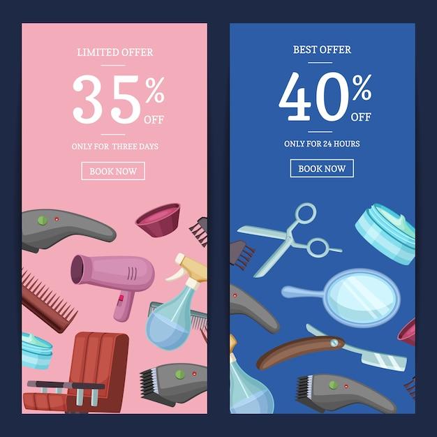 Ensemble de bannière web vertical, flyer de la carte de sertie d'éléments de dessin animé de coiffeur coiffeur Vecteur Premium
