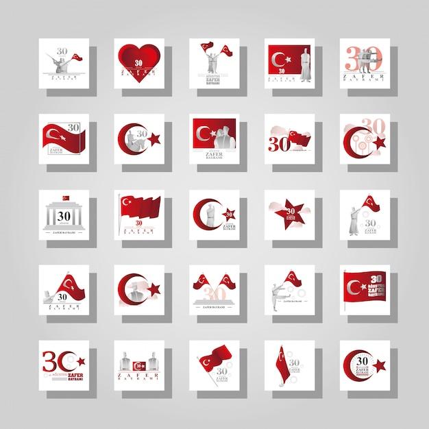 Ensemble De Bannières 30 Août, Jour De La Victoire De La Turquie Vecteur Premium