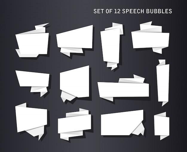 Ensemble De Bannières Abstraites, Ruban De Papier Plié Ou Bulles De Voix Originales Vecteur gratuit