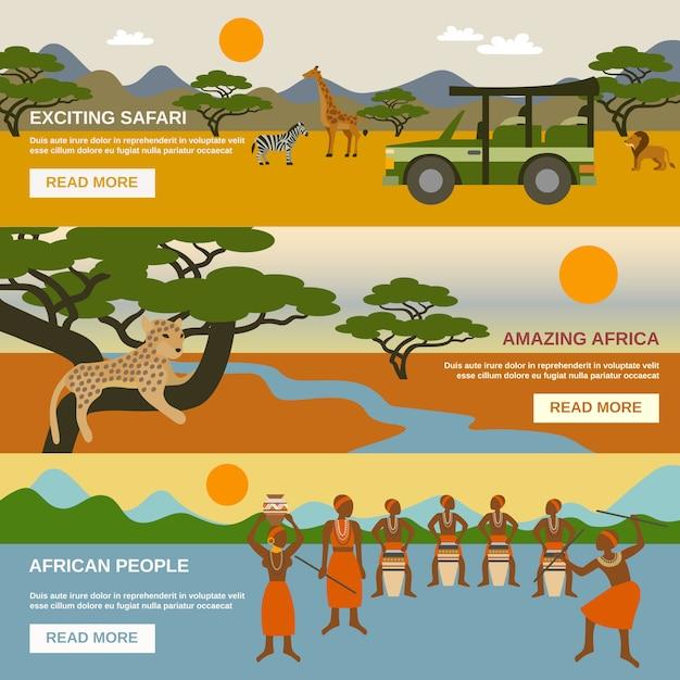 Ensemble de bannières d'afrique Vecteur gratuit