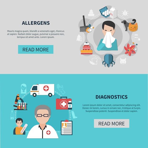 Ensemble De Bannières D'allergie Vecteur gratuit