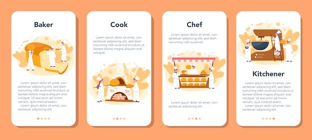 Ensemble De Bannières D'application Mobile Baker Et Boulangerie. Chef Dans Le Pain De Cuisson Uniforme. Processus De Pâtisserie. Vecteur Premium