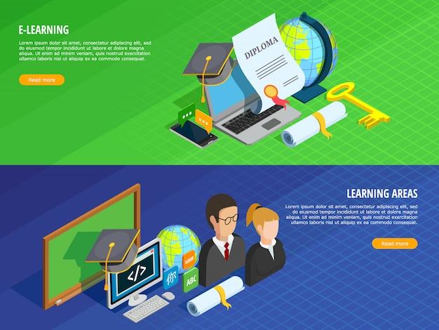 Ensemble de bannières d'apprentissage en ligne Vecteur gratuit