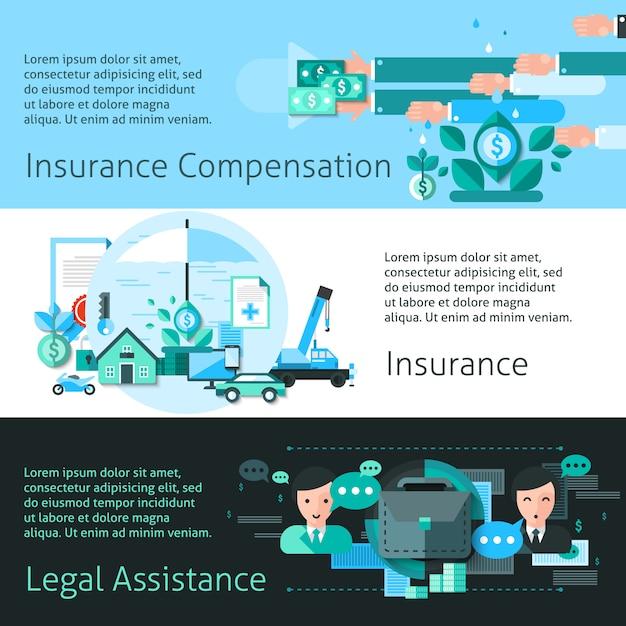Ensemble de bannières d'assurance et de risque Vecteur gratuit