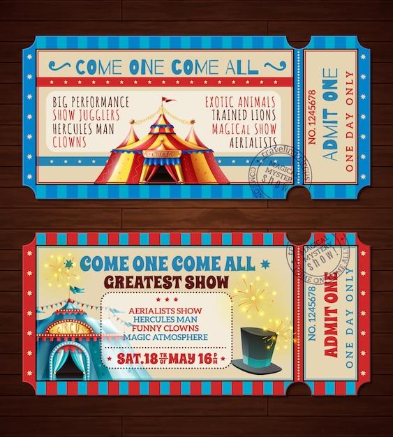 Ensemble de bannières de billets de cirque rétro Vecteur gratuit