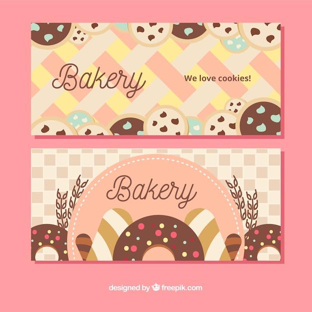 Ensemble De Bannières De Boulangerie Avec Des Bonbons Vecteur gratuit