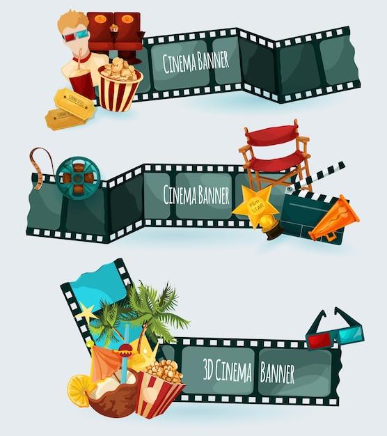 Ensemble de bannières de cinéma Vecteur gratuit