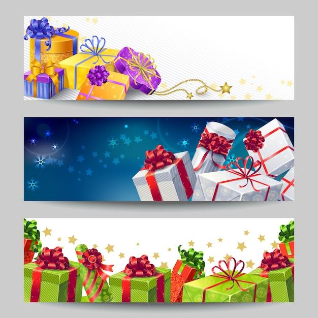 Ensemble De Bannières De Coffrets Cadeaux Vecteur gratuit