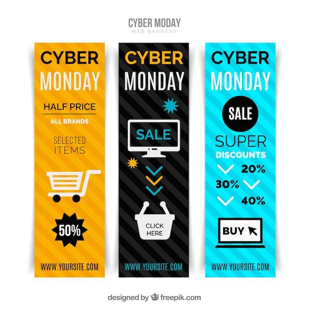 Ensemble de bannières colorées cyber lundi Vecteur gratuit