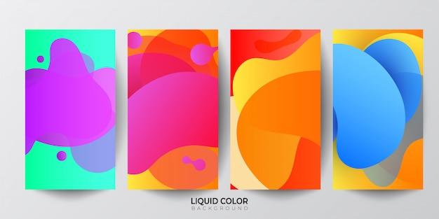 Ensemble de bannières de composition de formes abstraites fluides. Vecteur Premium