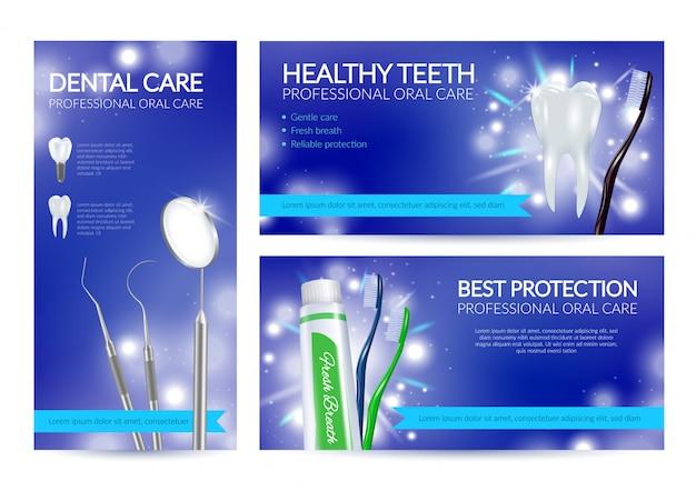 Ensemble De Bannières Dentaires De Dents Saines Vecteur gratuit