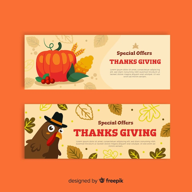 Ensemble de bannières design plat thanksgiving day Vecteur gratuit