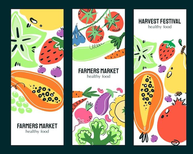 Ensemble De Bannières Dessinés à La Main De Légumes Et De Fruits. Repas, Régime Ou Nutrition Sains. Vecteur Premium