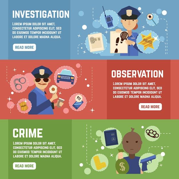 Ensemble de bannières de détective privé Vecteur gratuit