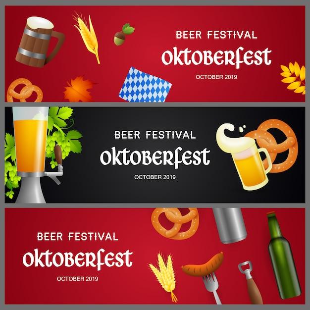 Ensemble de bannières du festival de la bière avec des objets réalistes Vecteur gratuit