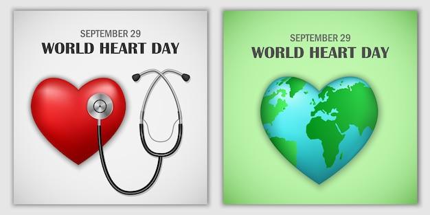 Ensemble De Bannières Du Monde De La Journée Mondiale Du Cœur Vecteur Premium