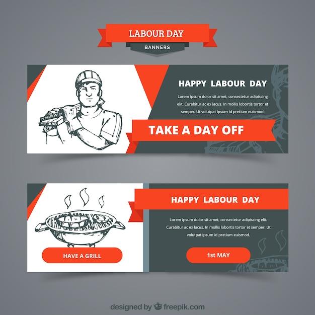 Ensemble de bannières de la fête du travail dans un style dessiné à la main Vecteur gratuit