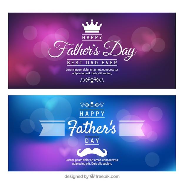Ensemble de bannières de fête des pères avec l'arrière-plan flou Vecteur gratuit