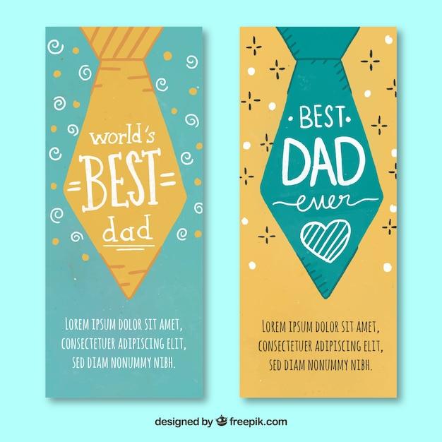 Ensemble de bannières de fête des pères avec des liens Vecteur gratuit