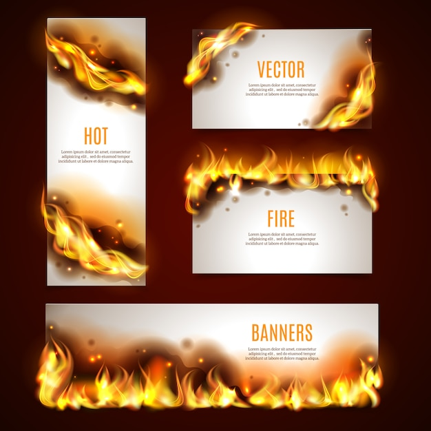 Ensemble de bannières de feu chaud Vecteur gratuit