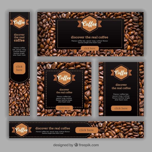 Ensemble de bannières avec des grains de café Vecteur gratuit