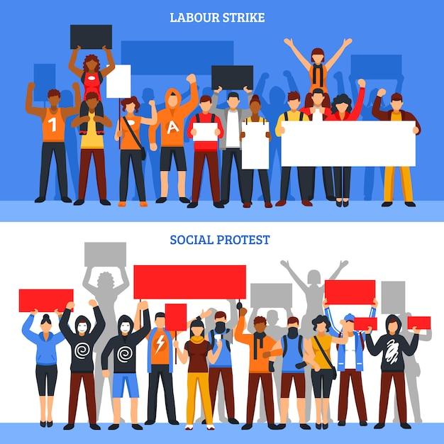 Ensemble de bannières de grève de la foule Vecteur gratuit