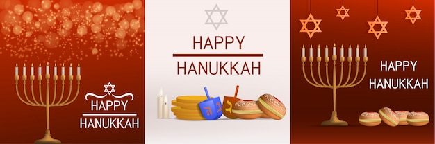 Ensemble de bannières hanukkah. illustration réaliste de la bannière de vecteur de hanukkah pour la conception web Vecteur Premium