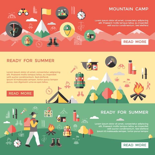 Ensemble De Bannières Horizontales D'alpinisme Vecteur gratuit