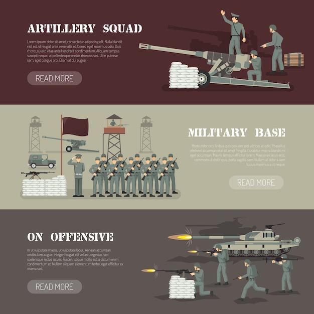 Ensemble de bannières horizontales de l'armée militaire Vecteur gratuit