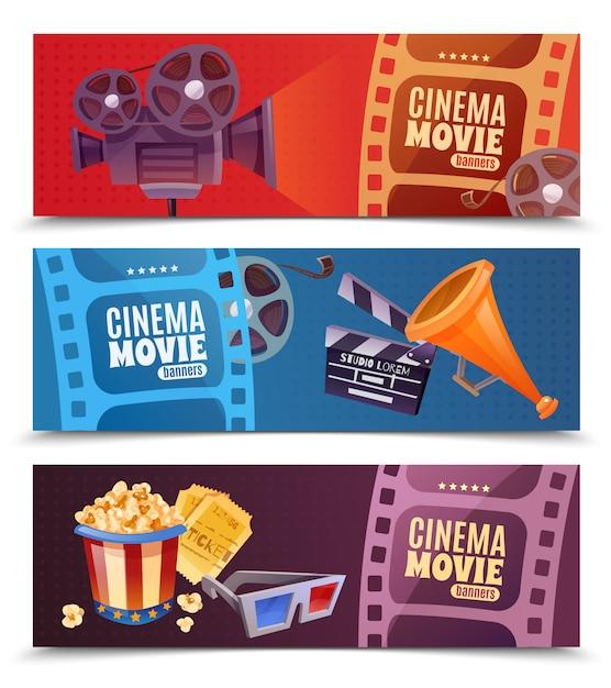 Ensemble de bannières horizontales de cinéma Vecteur gratuit